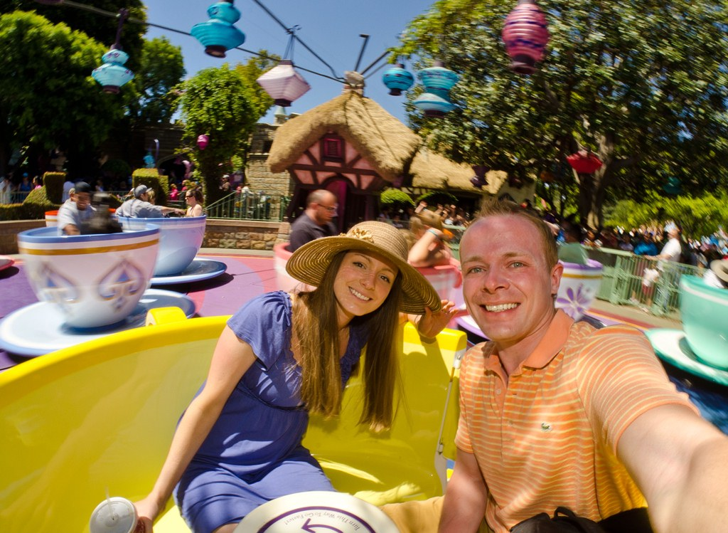 It's probably not the safest idea to hold a DSLR in one hand on spinning teacups, though...