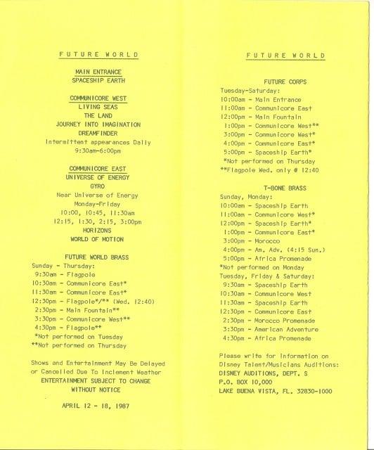 Epcot - Entertainment Program - 2 - April 12-18-1987  - Chad Erickson