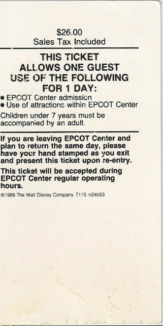 Epcot - Ticket Back Chad Erickson