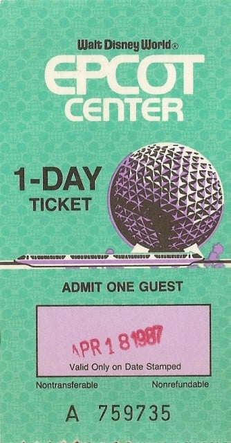 Epcot - Ticket Front Chad Erickson