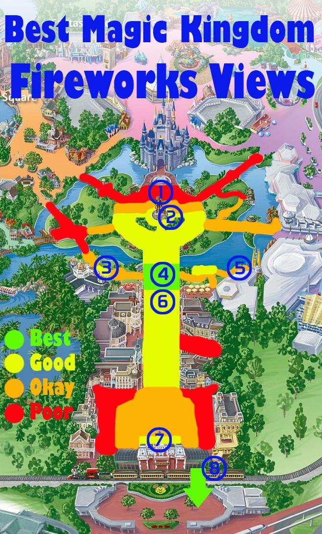 Map of the best Magic Kingdom Fireworks View (plus sample photos from ...