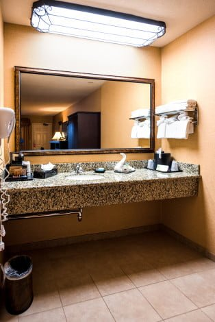 The bathroom which is pretty common of the hotels near disneyland