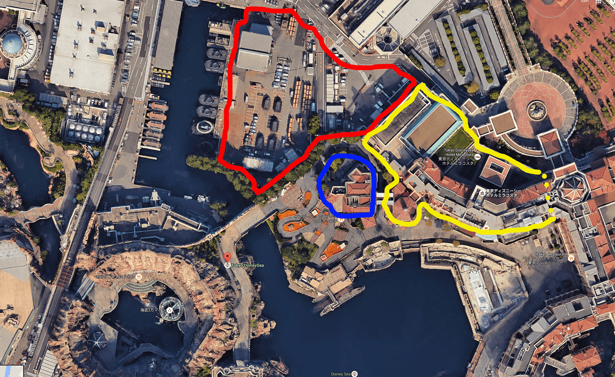 News revised tokyo disneyland disneysea expansion plans the expansion plot isnt the little courtyard behind zambini bros the plot is backstage facilities take a look at this crude overlay i drew on google sciox Image collections