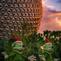 santa-mickey-minnie-spaceship-earth-sunset-epcot