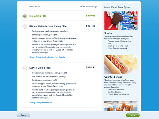 Best options for table service for disney dining plan